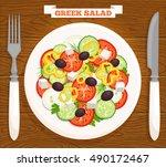 greek salad on a plate  top... | Shutterstock .eps vector #490172467