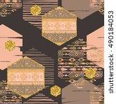 tribal ethnic seamless pattern...   Shutterstock .eps vector #490184053