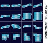 blue ribbon icons set vector   Shutterstock .eps vector #490185157