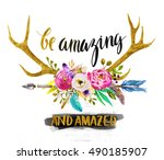 watercolor illustration with... | Shutterstock . vector #490185907