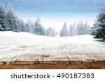 dirty old wooden table place of ... | Shutterstock . vector #490187383