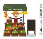 local market farmer selling... | Shutterstock .eps vector #490206553