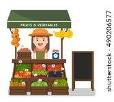local market farmer selling... | Shutterstock .eps vector #490206577