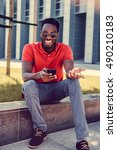 smiling african american male...   Shutterstock . vector #490210183