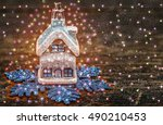 christmas house from a fairy... | Shutterstock . vector #490210453