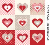 set of decorative red hearts on ... | Shutterstock .eps vector #490216717