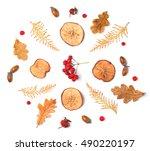 autumn fall flat lay... | Shutterstock . vector #490220197