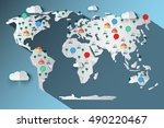 paper cut world map with clouds ... | Shutterstock . vector #490220467