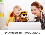 little girl and her playing... | Shutterstock . vector #490220647