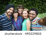 groupie together teamwork... | Shutterstock . vector #490229803