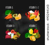vitamins  a   b1   b12   c.... | Shutterstock .eps vector #490244143