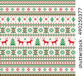 christmas seamless pattern with ... | Shutterstock .eps vector #490250377
