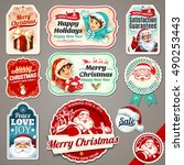 vector set of vintage christmas ... | Shutterstock .eps vector #490253443