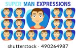 set of man expressions... | Shutterstock .eps vector #490264987