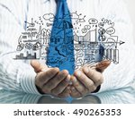 businessman demonstrate his... | Shutterstock . vector #490265353