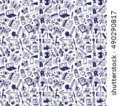 drawing   art tools   seamless... | Shutterstock .eps vector #490290817
