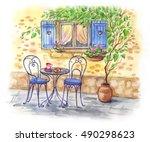 breakfast on the street under...   Shutterstock . vector #490298623