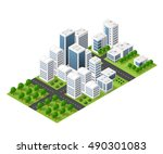 isometric perspective city | Shutterstock . vector #490301083