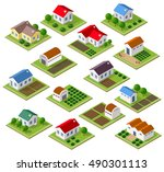 set of townhouses | Shutterstock . vector #490301113