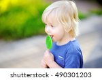 cute toddler boy with big green ... | Shutterstock . vector #490301203