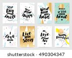 set of cards or posters with... | Shutterstock .eps vector #490304347