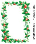 christmas decoration with holly ... | Shutterstock .eps vector #490306183