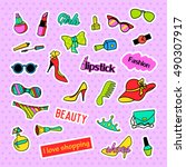 fashion patch badges. fashion... | Shutterstock .eps vector #490307917
