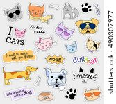fashion patch badges. cat and... | Shutterstock .eps vector #490307977
