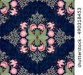 seamless vector floral dark... | Shutterstock .eps vector #490318453