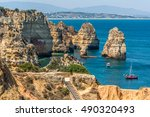 scenic golden cliffs in ponta... | Shutterstock . vector #490320493