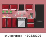 kitchen with furniture and... | Shutterstock .eps vector #490330303