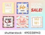 stylish social media sale... | Shutterstock .eps vector #490338943