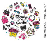 fashion accessories patches set.... | Shutterstock .eps vector #490356397