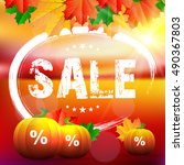 autumn sale card.  | Shutterstock .eps vector #490367803
