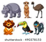 Sticker Set With Many Animals...
