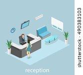 isometric interior of reception.... | Shutterstock . vector #490383103