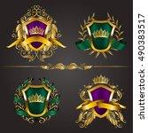 set of golden royal shields...   Shutterstock .eps vector #490383517