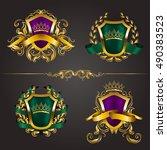 set of golden royal shields...   Shutterstock .eps vector #490383523