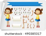 girl with different body parts... | Shutterstock .eps vector #490385317