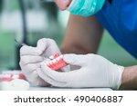 dental prosthesis  dentures ... | Shutterstock . vector #490406887