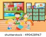children folding paper airplane ... | Shutterstock .eps vector #490428967