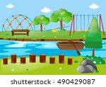 scene with river and playground ... | Shutterstock .eps vector #490429087