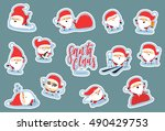 santa claus characters of... | Shutterstock .eps vector #490429753