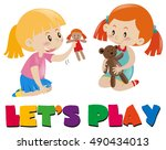 two girls playing with dolls... | Shutterstock .eps vector #490434013