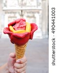 Small photo of Rose Ice cream gelato in sherbet fruity flavours : strawberry, mango and raspberry. Summer holiday vacation and refreshment concept