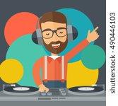 a caucasian disc jockey with... | Shutterstock . vector #490446103