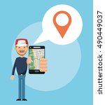 gps navigator and location... | Shutterstock .eps vector #490449037