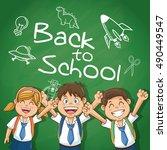 kids of back to school design | Shutterstock .eps vector #490449547