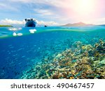beautiful coral reef near... | Shutterstock . vector #490467457