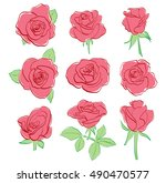 red beautiful roses   vector... | Shutterstock .eps vector #490470577